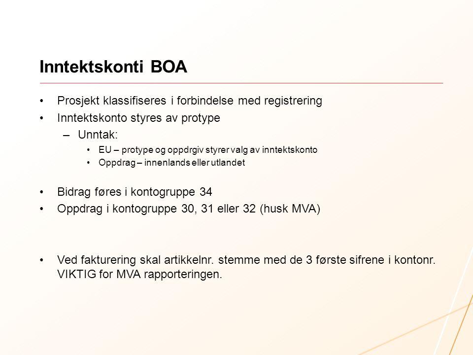 Inntektskonti BOA Prosjekt klassifiseres i forbindelse med registrering Inntektskonto styres av protype –Unntak: EU – protype og oppdrgiv styrer valg av inntektskonto Oppdrag – innenlands eller utlandet Bidrag føres i kontogruppe 34 Oppdrag i kontogruppe 30, 31 eller 32 (husk MVA) Ved fakturering skal artikkelnr.