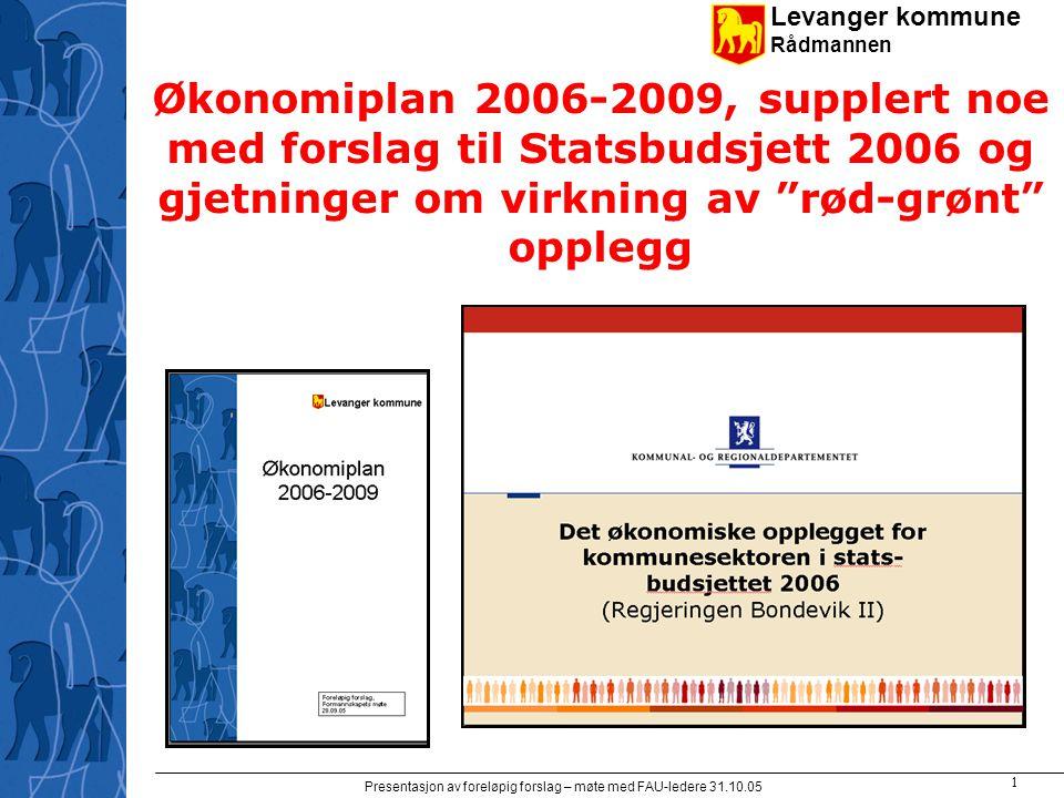 Levanger kommune Rådmannen Presentasjon av foreløpig forslag – møte med FAU-ledere 31.10.05 1 Økonomiplan 2006-2009, supplert noe med forslag til Statsbudsjett 2006 og gjetninger om virkning av rød-grønt opplegg