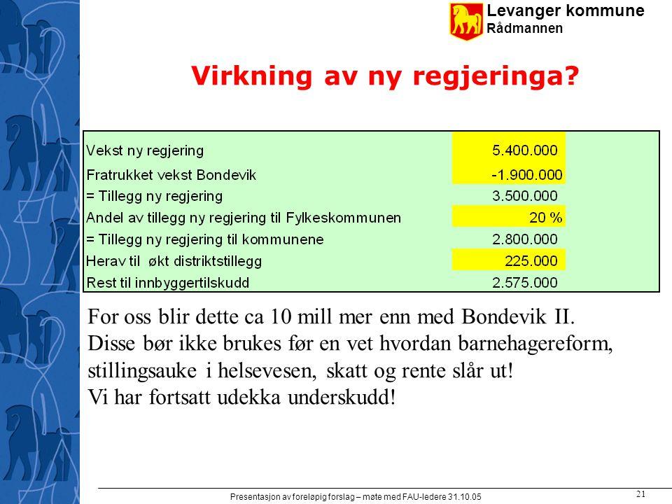 Levanger kommune Rådmannen Presentasjon av foreløpig forslag – møte med FAU-ledere 31.10.05 21 Virkning av ny regjeringa.