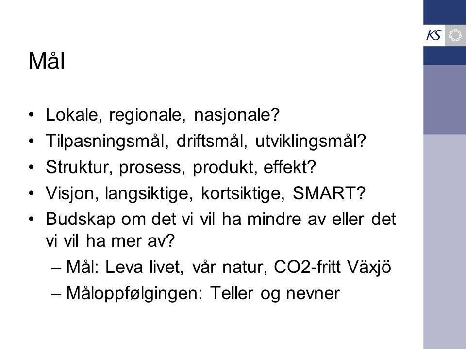 Mål Lokale, regionale, nasjonale? Tilpasningsmål, driftsmål, utviklingsmål? Struktur, prosess, produkt, effekt? Visjon, langsiktige, kortsiktige, SMAR