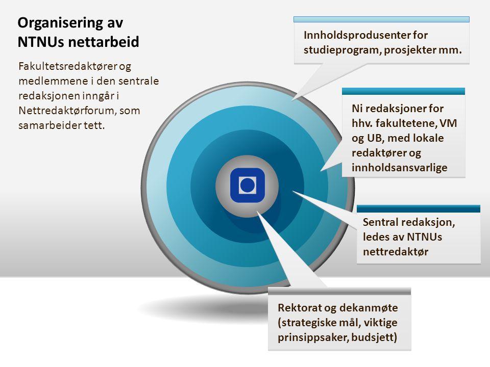 Organisering av NTNUs nettarbeid Innholdsprodusenter for studieprogram, prosjekter mm.