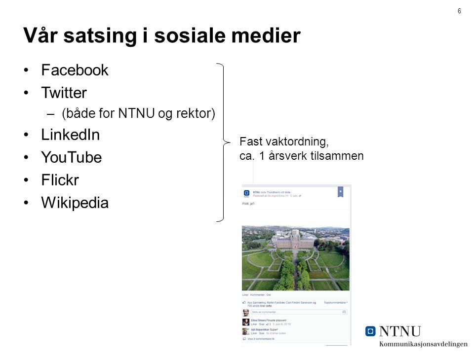 6 Vår satsing i sosiale medier Facebook Twitter –(både for NTNU og rektor) LinkedIn YouTube Flickr Wikipedia Fast vaktordning, ca.