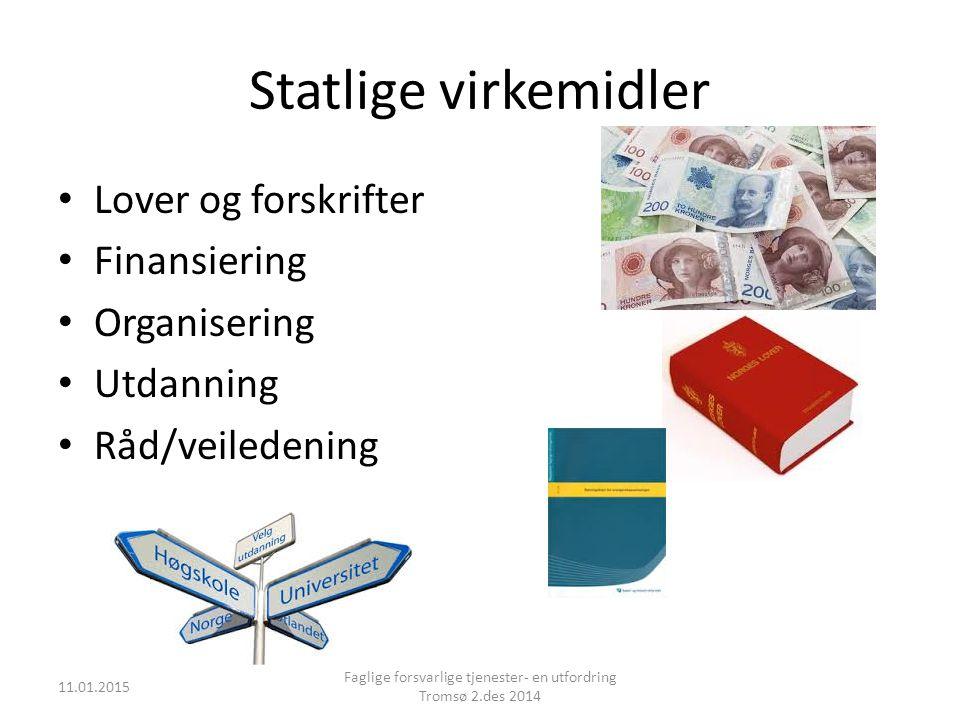 Statlige virkemidler Lover og forskrifter Finansiering Organisering Utdanning Råd/veiledening 11.01.2015 Faglige forsvarlige tjenester- en utfordring