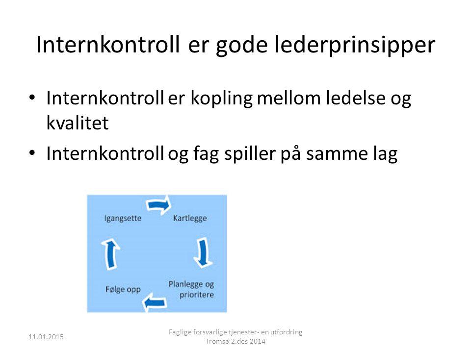 Internkontroll er gode lederprinsipper Internkontroll er kopling mellom ledelse og kvalitet Internkontroll og fag spiller på samme lag 11.01.2015 Fagl