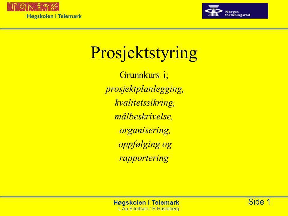 Høgskolen i Telemark Side 1 L.Aa.Eilertsen / H.Hasleberg Prosjektstyring Grunnkurs i; prosjektplanlegging, kvalitetssikring, målbeskrivelse, organisering, oppfølging og rapportering