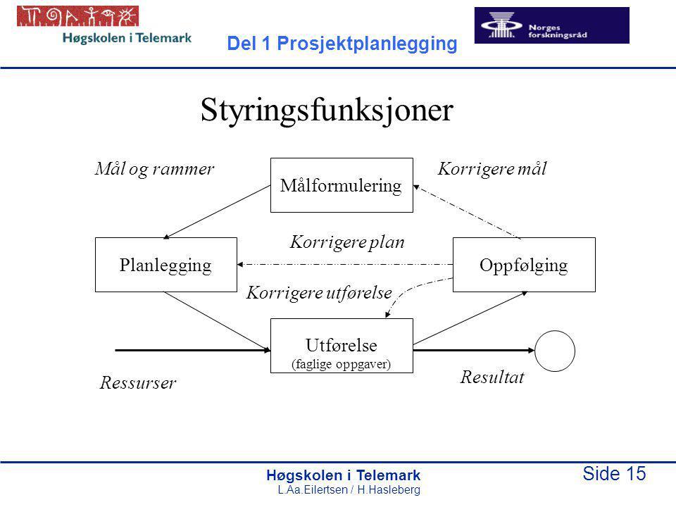 Høgskolen i Telemark Side 15 L.Aa.Eilertsen / H.Hasleberg Utførelse (faglige oppgaver) Målformulering OppfølgingPlanlegging Mål og rammerKorrigere mål