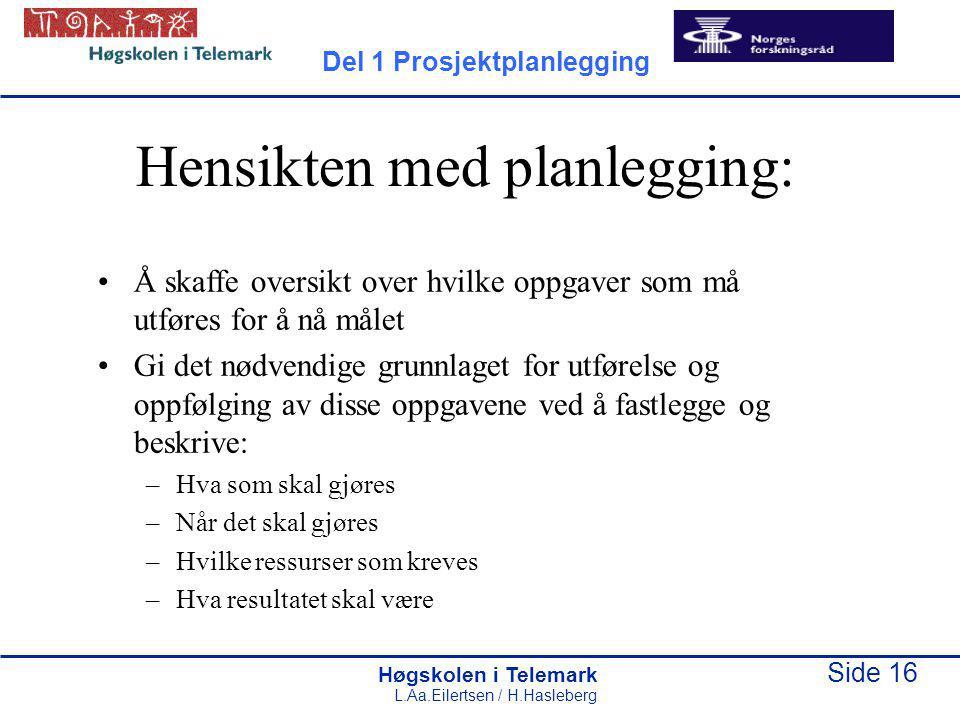 Høgskolen i Telemark Side 16 L.Aa.Eilertsen / H.Hasleberg Hensikten med planlegging: Å skaffe oversikt over hvilke oppgaver som må utføres for å nå må