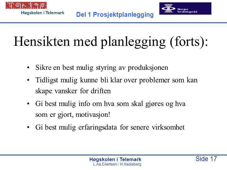 Høgskolen i Telemark Side 17 L.Aa.Eilertsen / H.Hasleberg Hensikten med planlegging (forts): Sikre en best mulig styring av produksjonen Tidligst muli