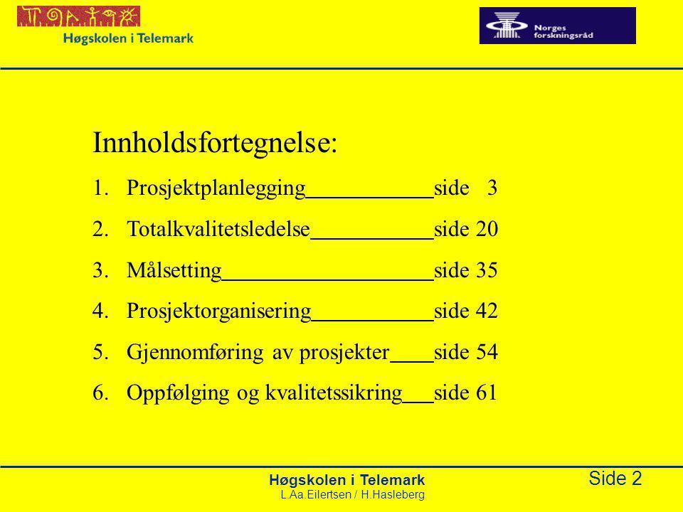 Høgskolen i Telemark Side 43 L.Aa.Eilertsen / H.Hasleberg Forholdet mellom basisorganisasjon og prosjektorganisasjon BasisorganisasjonProsjektorganisasjon Linjeorganisasjon Oppdrags-giverProsjekt- ansvarlig Prosjektleder Prosjekt- medarbeider Referanse- gruppe Del 4 Prosjektorganisering Styringsgruppe