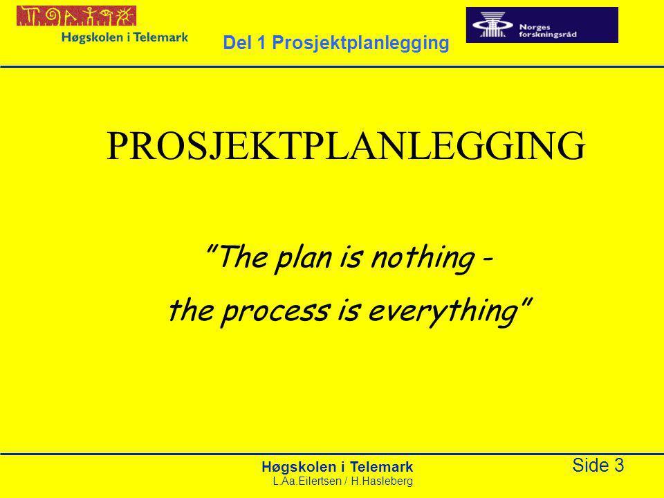 Høgskolen i Telemark Side 44 L.Aa.Eilertsen / H.Hasleberg Organiseringen av prosjektet Avhenger av kompleksitet og omfang Enkeltpersoner kan inneha flere roller, særlig i mindre prosjekt Del 4 Prosjektorganisering