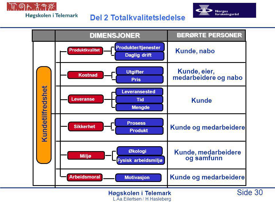 Høgskolen i Telemark Side 30 L.Aa.Eilertsen / H.Hasleberg Produktkvalitet Kostnad Pris Utgifter Leveranse Destino Cantidad Sikkerhet Miljø Arbeidsmora
