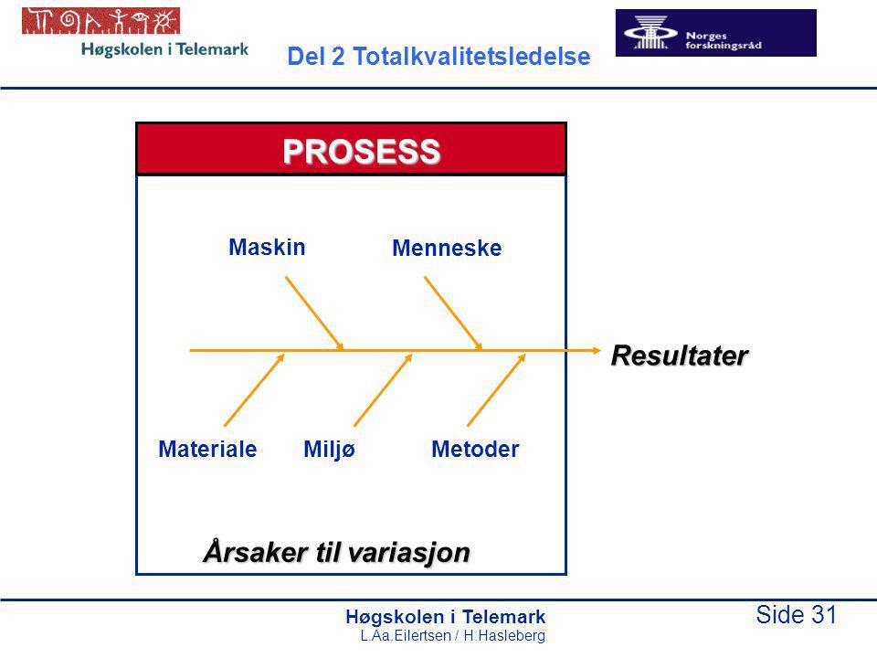 Høgskolen i Telemark Side 31 L.Aa.Eilertsen / H.Hasleberg PROSESS Resultater Årsaker til variasjon Maskin Materiale Menneske Miljø Metoder Del 2 Totalkvalitetsledelse
