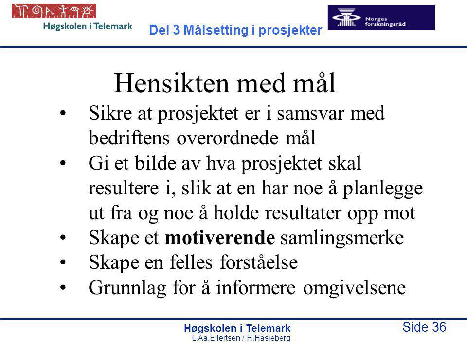 Høgskolen i Telemark Side 36 L.Aa.Eilertsen / H.Hasleberg Hensikten med mål Sikre at prosjektet er i samsvar med bedriftens overordnede mål Gi et bild