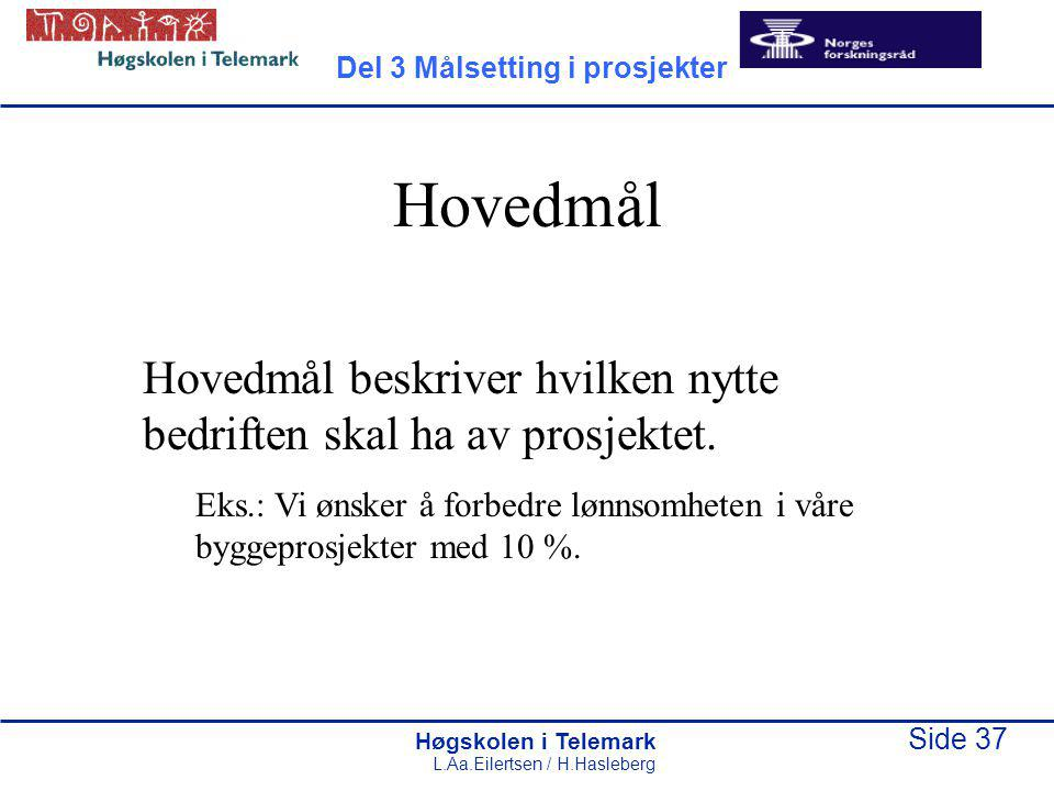 Høgskolen i Telemark Side 37 L.Aa.Eilertsen / H.Hasleberg Hovedmål Hovedmål beskriver hvilken nytte bedriften skal ha av prosjektet. Eks.: Vi ønsker å