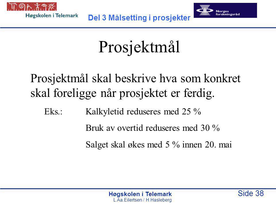 Høgskolen i Telemark Side 38 L.Aa.Eilertsen / H.Hasleberg Prosjektmål Prosjektmål skal beskrive hva som konkret skal foreligge når prosjektet er ferdi