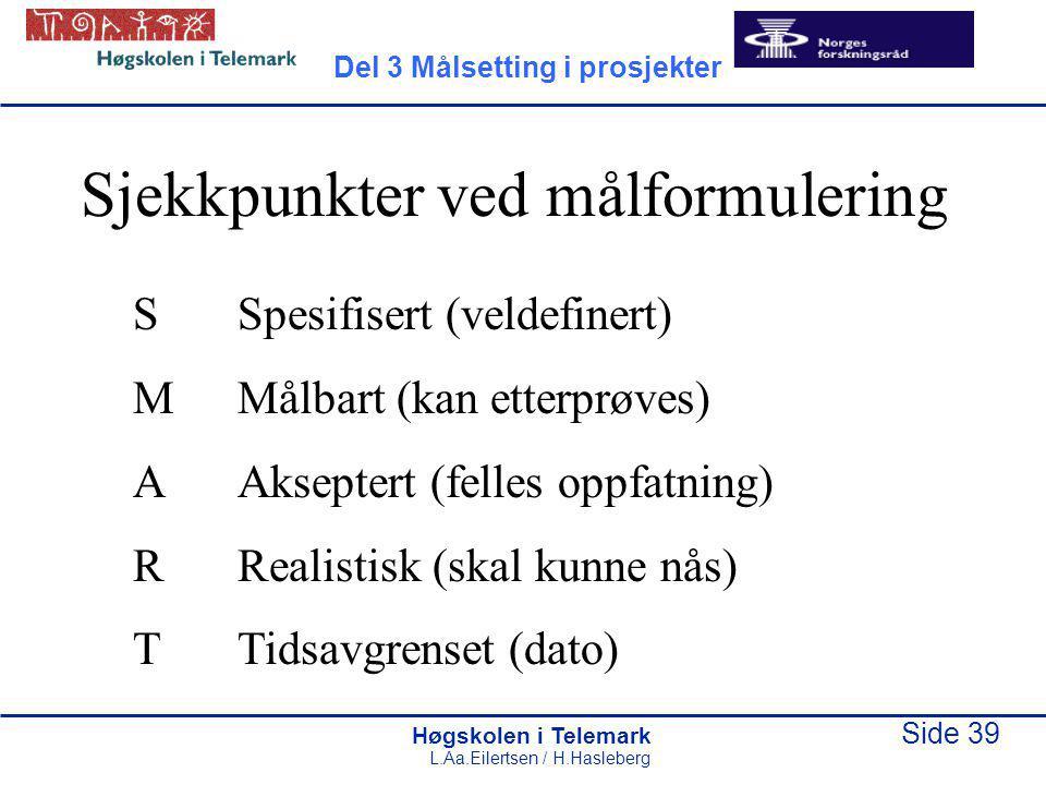 Høgskolen i Telemark Side 39 L.Aa.Eilertsen / H.Hasleberg Sjekkpunkter ved målformulering SSpesifisert (veldefinert) MMålbart (kan etterprøves) AAkseptert (felles oppfatning) RRealistisk (skal kunne nås) TTidsavgrenset (dato) Del 3 Målsetting i prosjekter
