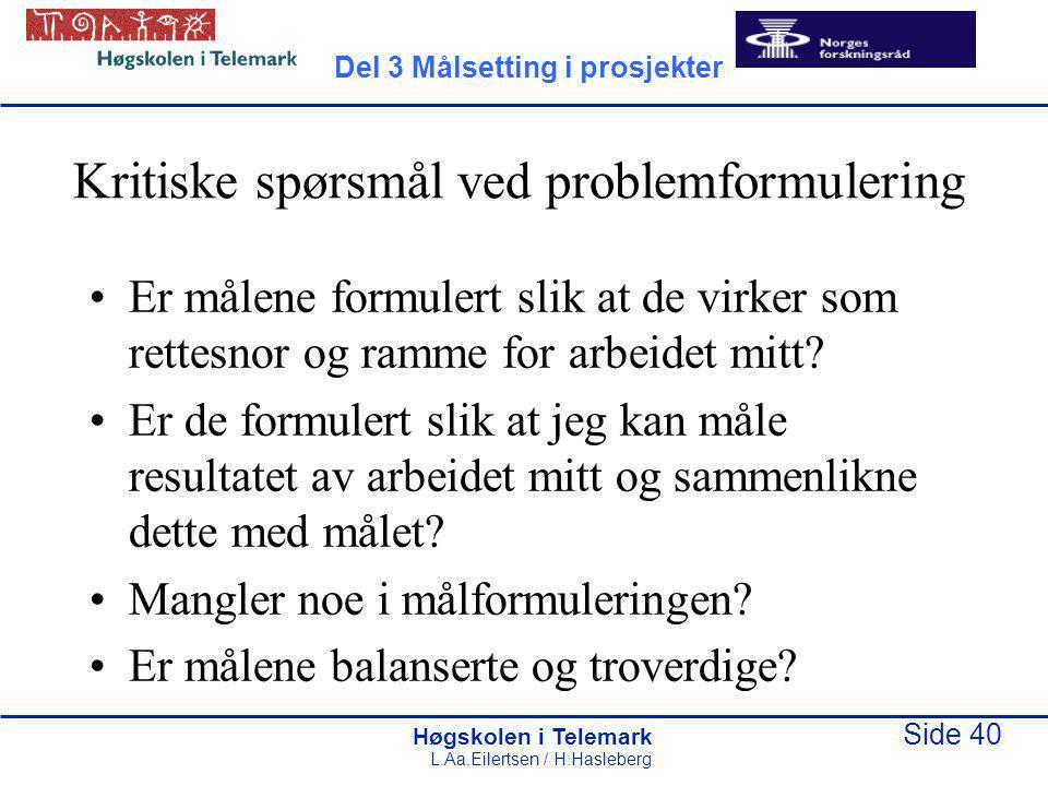 Høgskolen i Telemark Side 40 L.Aa.Eilertsen / H.Hasleberg Kritiske spørsmål ved problemformulering Er målene formulert slik at de virker som rettesnor og ramme for arbeidet mitt.