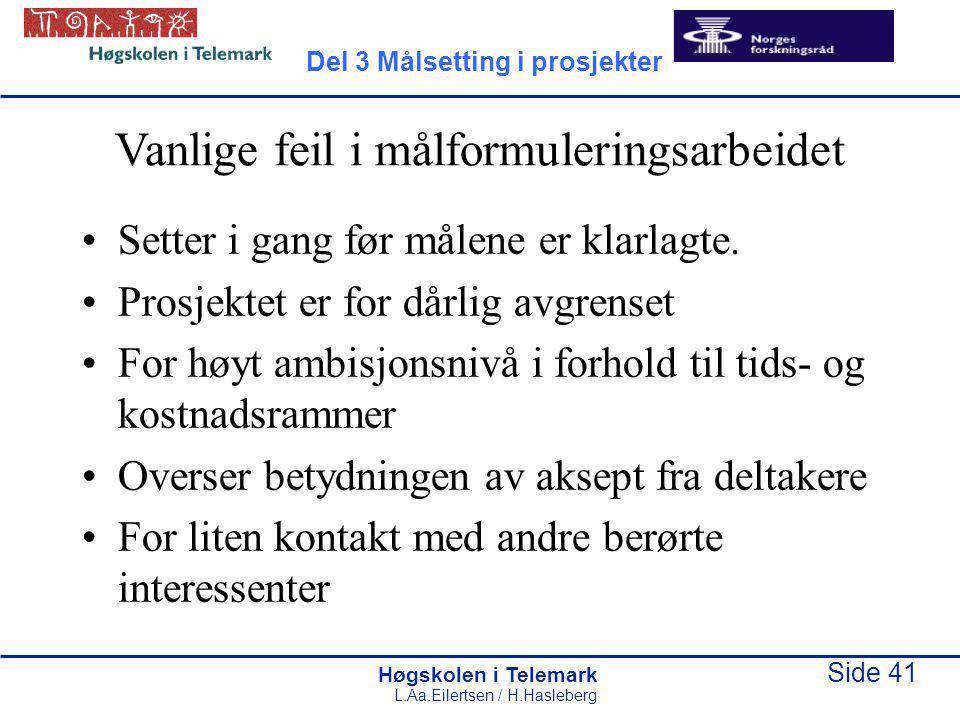 Høgskolen i Telemark Side 41 L.Aa.Eilertsen / H.Hasleberg Vanlige feil i målformuleringsarbeidet Setter i gang før målene er klarlagte. Prosjektet er