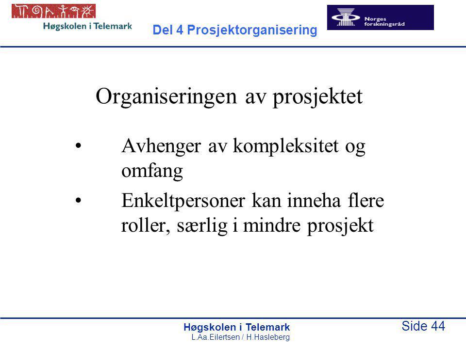 Høgskolen i Telemark Side 44 L.Aa.Eilertsen / H.Hasleberg Organiseringen av prosjektet Avhenger av kompleksitet og omfang Enkeltpersoner kan inneha fl