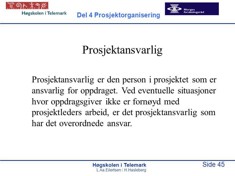 Høgskolen i Telemark Side 45 L.Aa.Eilertsen / H.Hasleberg Prosjektansvarlig Prosjektansvarlig er den person i prosjektet som er ansvarlig for oppdrage