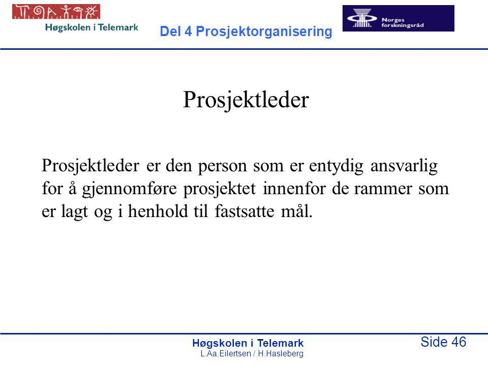 Høgskolen i Telemark Side 46 L.Aa.Eilertsen / H.Hasleberg Prosjektleder Prosjektleder er den person som er entydig ansvarlig for å gjennomføre prosjek