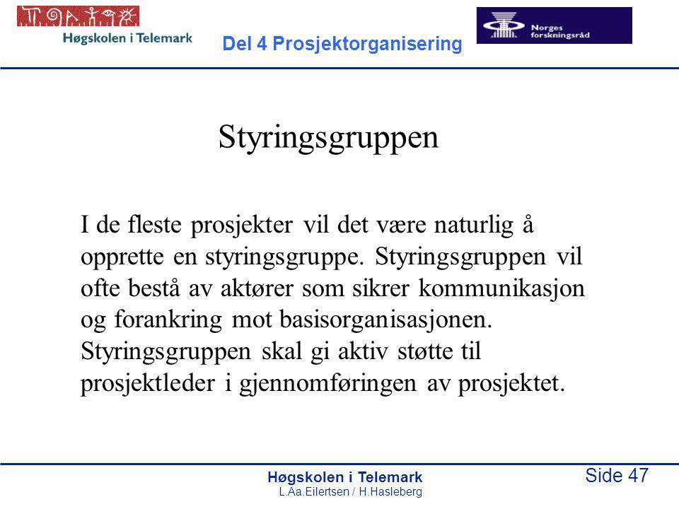 Høgskolen i Telemark Side 47 L.Aa.Eilertsen / H.Hasleberg Styringsgruppen I de fleste prosjekter vil det være naturlig å opprette en styringsgruppe. S