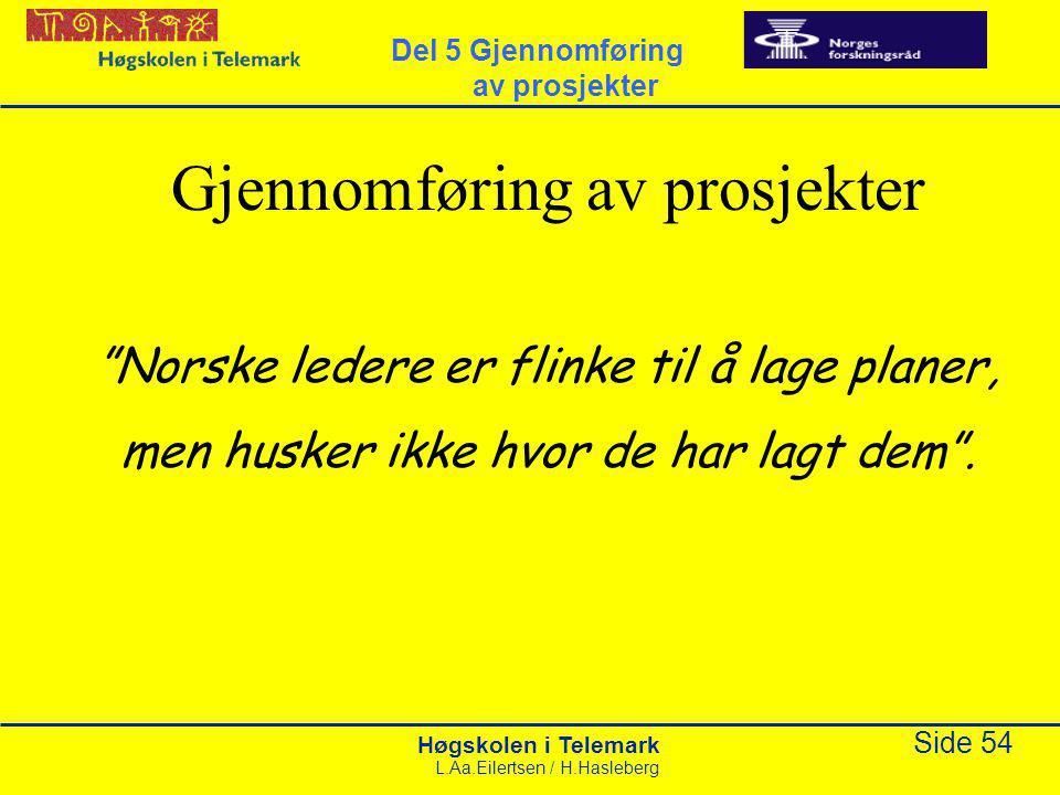 """Høgskolen i Telemark Side 54 L.Aa.Eilertsen / H.Hasleberg Gjennomføring av prosjekter """"Norske ledere er flinke til å lage planer, men husker ikke hvor"""