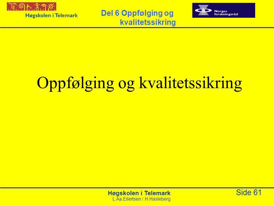 Høgskolen i Telemark Side 61 L.Aa.Eilertsen / H.Hasleberg Oppfølging og kvalitetssikring Del 6 Oppfølging og kvalitetssikring