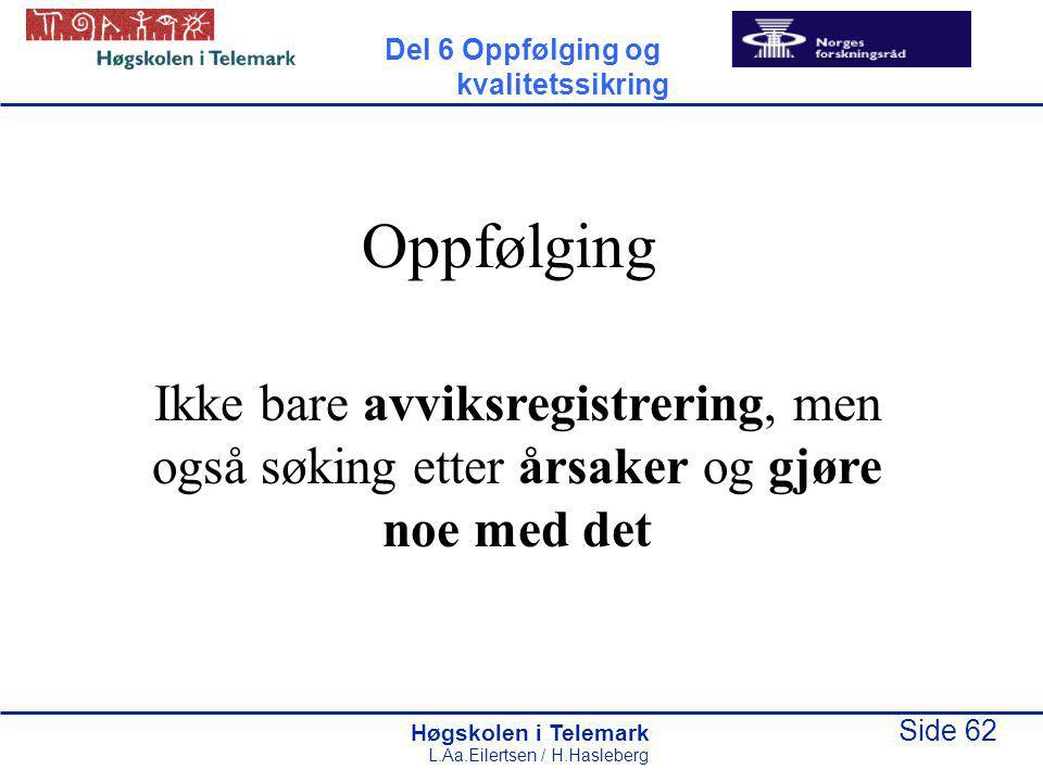 Høgskolen i Telemark Side 62 L.Aa.Eilertsen / H.Hasleberg Oppfølging Ikke bare avviksregistrering, men også søking etter årsaker og gjøre noe med det