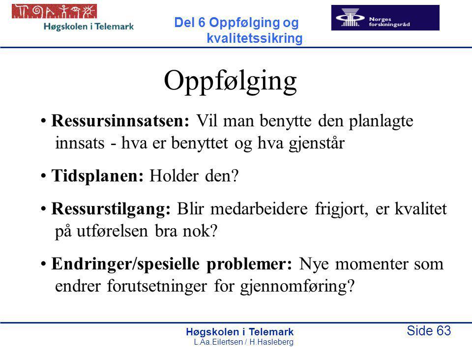 Høgskolen i Telemark Side 63 L.Aa.Eilertsen / H.Hasleberg Oppfølging Ressursinnsatsen: Vil man benytte den planlagte innsats - hva er benyttet og hva