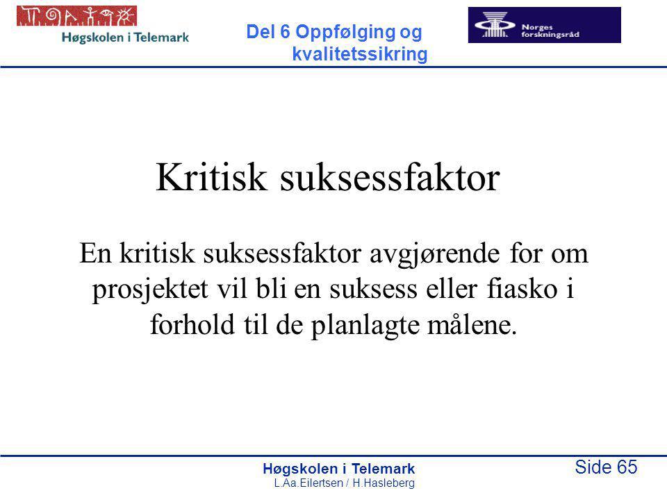 Høgskolen i Telemark Side 65 L.Aa.Eilertsen / H.Hasleberg Kritisk suksessfaktor En kritisk suksessfaktor avgjørende for om prosjektet vil bli en sukse