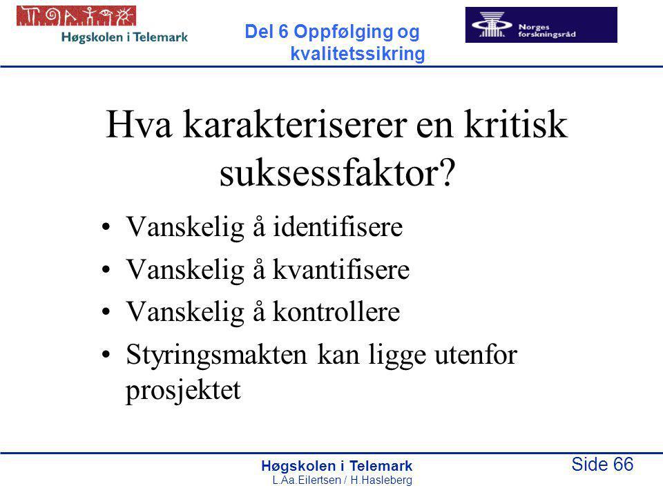 Høgskolen i Telemark Side 66 L.Aa.Eilertsen / H.Hasleberg Hva karakteriserer en kritisk suksessfaktor? Vanskelig å identifisere Vanskelig å kvantifise