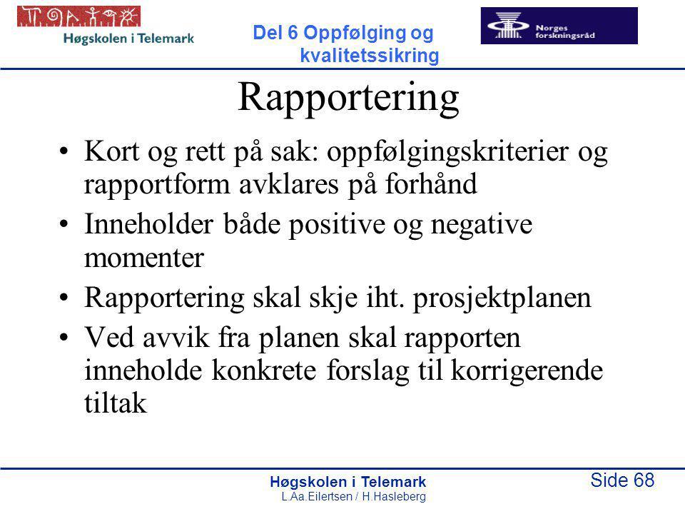 Høgskolen i Telemark Side 68 L.Aa.Eilertsen / H.Hasleberg Rapportering Kort og rett på sak: oppfølgingskriterier og rapportform avklares på forhånd Inneholder både positive og negative momenter Rapportering skal skje iht.