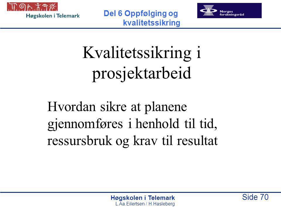 Høgskolen i Telemark Side 70 L.Aa.Eilertsen / H.Hasleberg Kvalitetssikring i prosjektarbeid Hvordan sikre at planene gjennomføres i henhold til tid, ressursbruk og krav til resultat Del 6 Oppfølging og kvalitetssikring