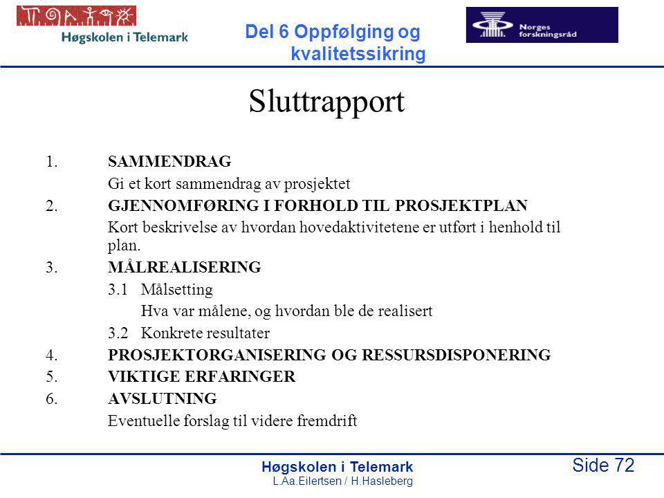 Høgskolen i Telemark Side 72 L.Aa.Eilertsen / H.Hasleberg Sluttrapport 1.SAMMENDRAG Gi et kort sammendrag av prosjektet 2.GJENNOMFØRING I FORHOLD TIL
