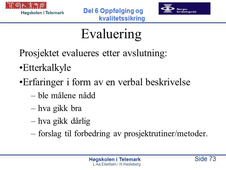 Høgskolen i Telemark Side 73 L.Aa.Eilertsen / H.Hasleberg Evaluering Prosjektet evalueres etter avslutning: Etterkalkyle Erfaringer i form av en verbal beskrivelse –ble målene nådd –hva gikk bra –hva gikk dårlig –forslag til forbedring av prosjektrutiner/metoder.