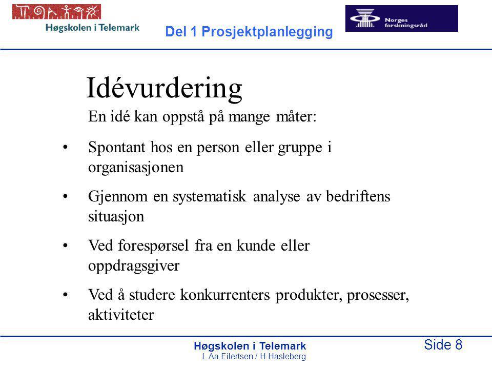 Høgskolen i Telemark Side 19 L.Aa.Eilertsen / H.Hasleberg Fordeler med planlegging: Man blir kjent med prosjektet som skal gjennomføres Problemer blir løst før de oppstår Felles utgangspunkt Bedre beslutninger under prosjekt- gjennomføringen Del 1 Prosjektplanlegging