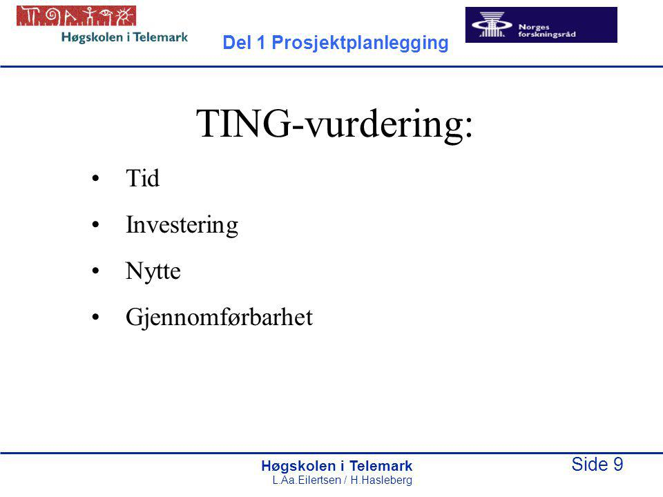 Høgskolen i Telemark Side 10 L.Aa.Eilertsen / H.Hasleberg Idévurderingsrapport 1.Sammendrag med anbefaling (max 1 side) 2.Beskrivelse av idé 3.Forankring i forretningsidé og strategi 4.TING-vurdering 5.Foreløpig gjennomføringsplan - Angrepsmåte - Hovedoppgaver - Fremdrift - Ressurser Del 1 Prosjektplanlegging