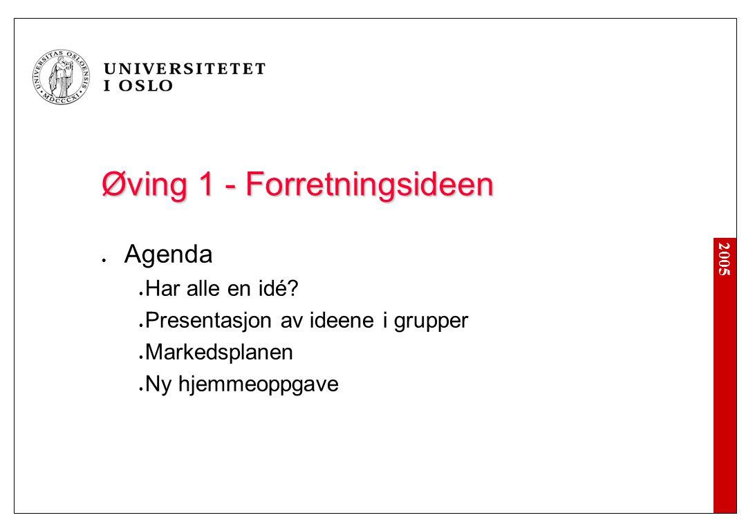 2005 Øving 1 - Forretningsideen Agenda Har alle en idé.
