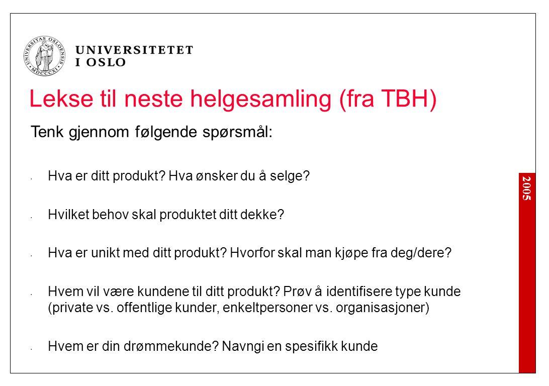2005 Lekse til neste helgesamling (fra TBH) Tenk gjennom følgende spørsmål: Hva er ditt produkt.