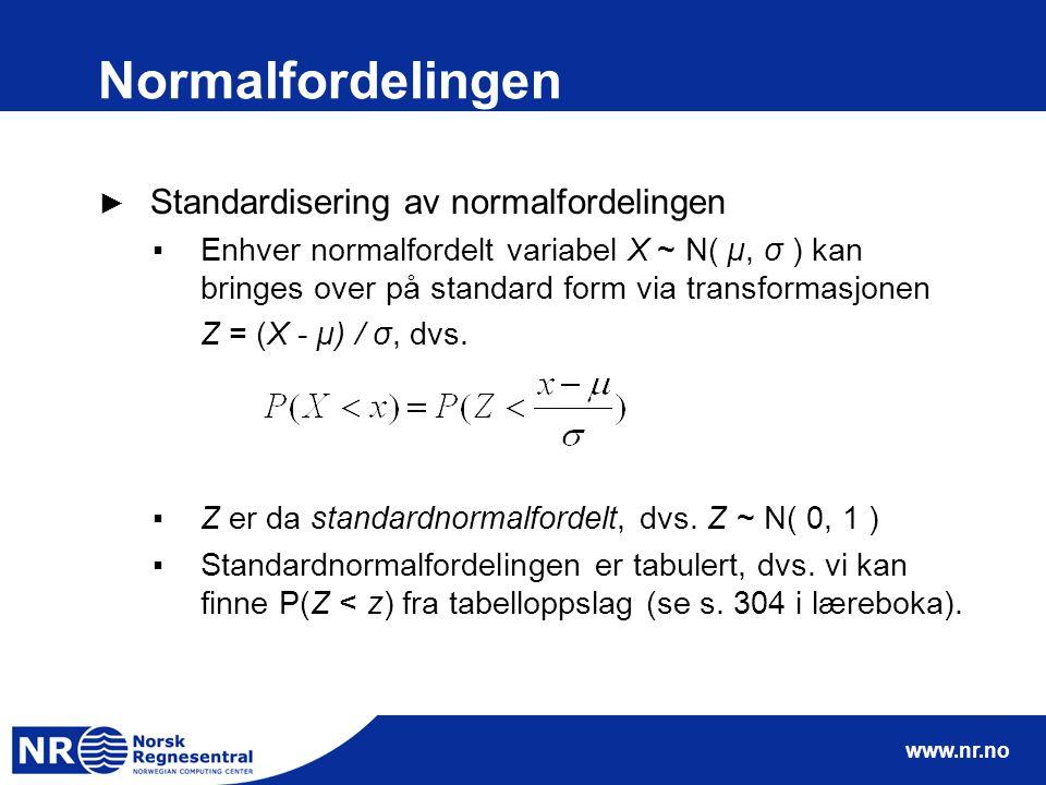www.nr.no Normalfordelingen ► Standardisering av normalfordelingen ▪Enhver normalfordelt variabel X ~ N( µ, σ ) kan bringes over på standard form via