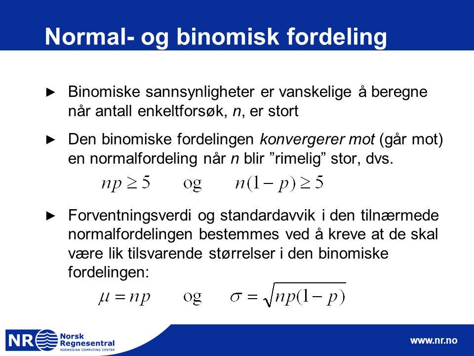 www.nr.no Normal- og binomisk fordeling ► Binomiske sannsynligheter er vanskelige å beregne når antall enkeltforsøk, n, er stort ► Den binomiske forde