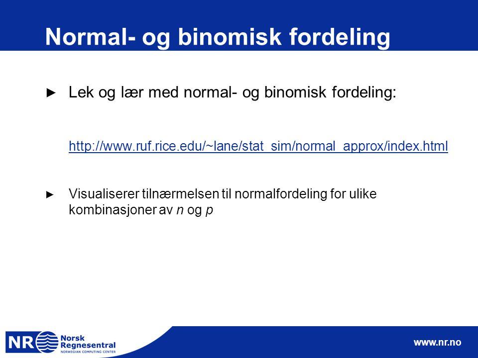 www.nr.no Normal- og binomisk fordeling ► Lek og lær med normal- og binomisk fordeling: http://www.ruf.rice.edu/~lane/stat_sim/normal_approx/index.htm