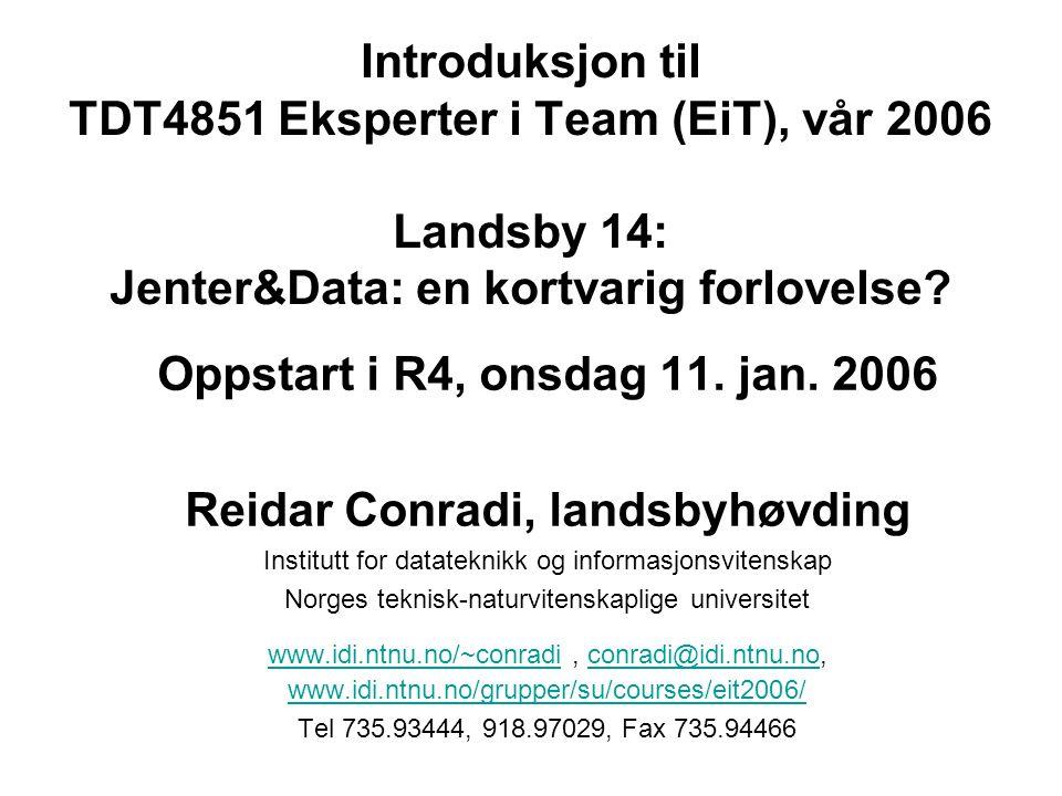 Introduksjon til TDT4851 Eksperter i Team (EiT), vår 2006 Landsby 14: Jenter&Data: en kortvarig forlovelse.