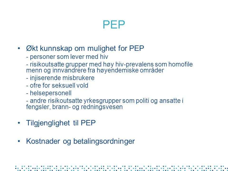 PEP Økt kunnskap om mulighet for PEP - personer som lever med hiv - risikoutsatte grupper med høy hiv-prevalens som homofile menn og innvandrere fra h