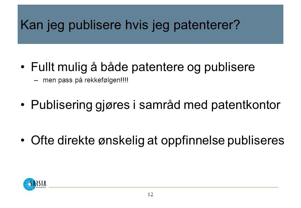 12 Kan jeg publisere hvis jeg patenterer.