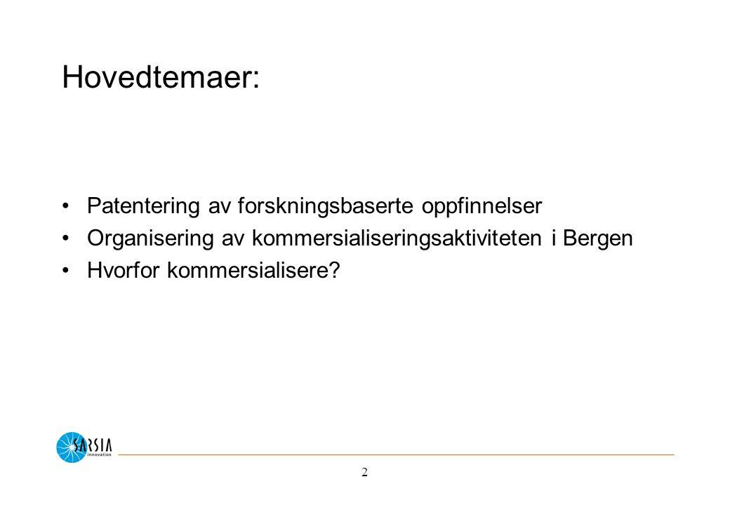 2 Hovedtemaer: Patentering av forskningsbaserte oppfinnelser Organisering av kommersialiseringsaktiviteten i Bergen Hvorfor kommersialisere