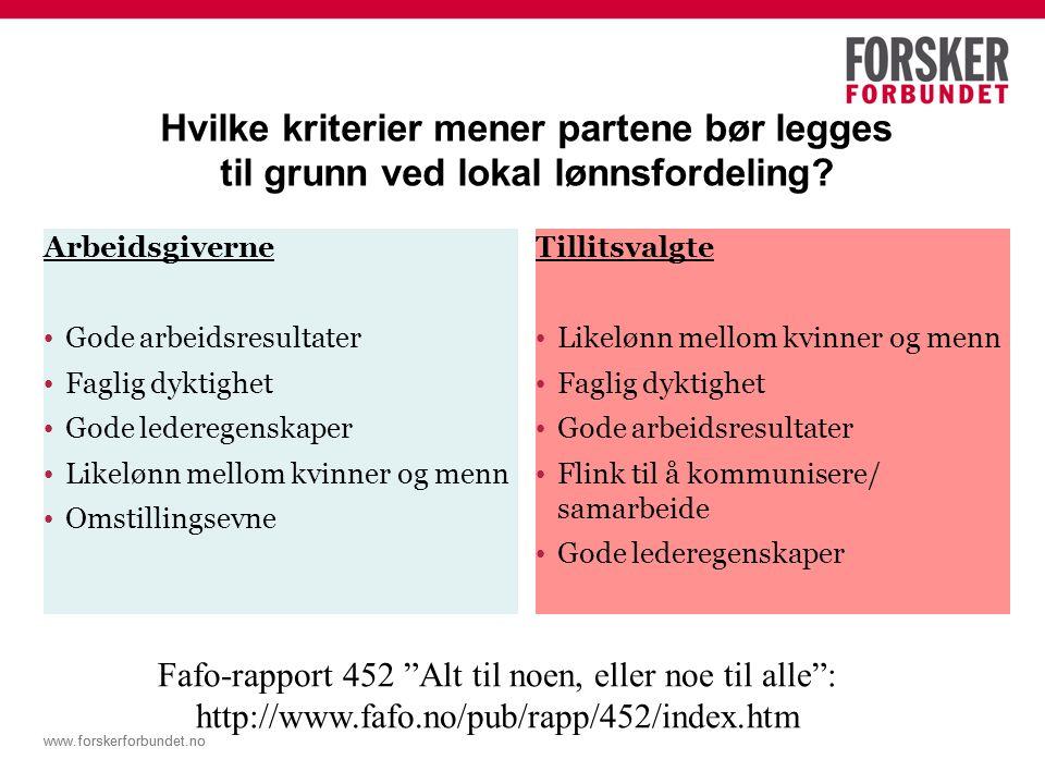 www.forskerforbundet.no Hvilke kriterier mener partene bør legges til grunn ved lokal lønnsfordeling.