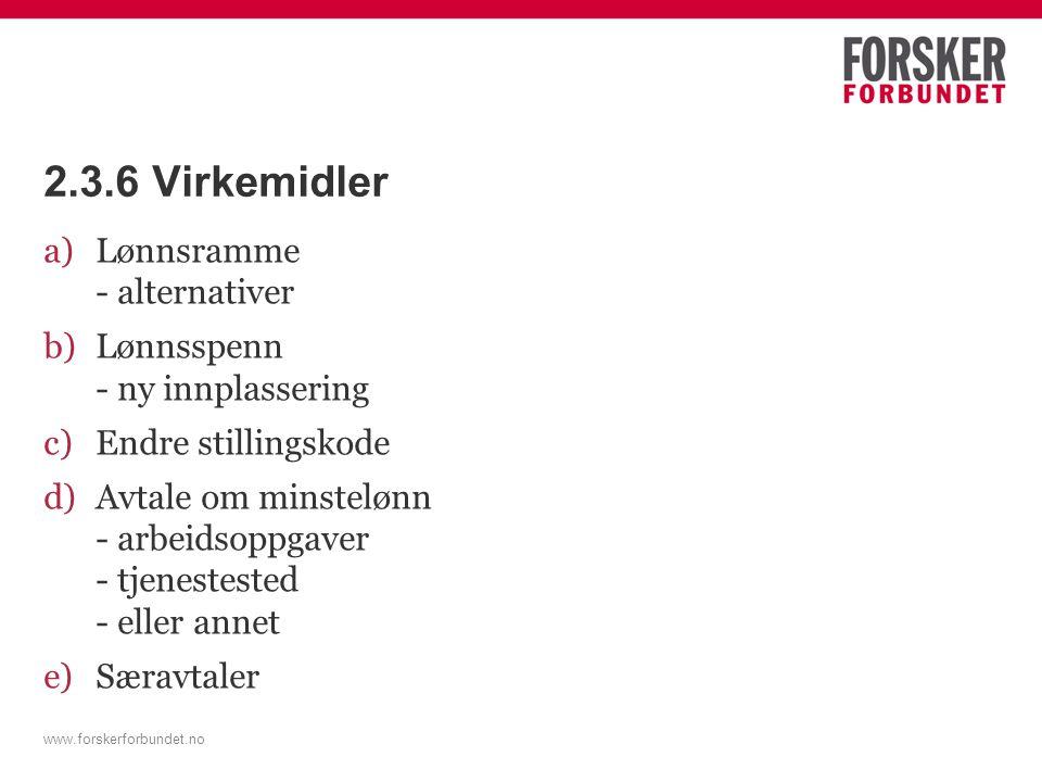 www.forskerforbundet.no 2.3.6 Virkemidler a)Lønnsramme - alternativer b)Lønnsspenn - ny innplassering c)Endre stillingskode d)Avtale om minstelønn - arbeidsoppgaver - tjenestested - eller annet e)Særavtaler