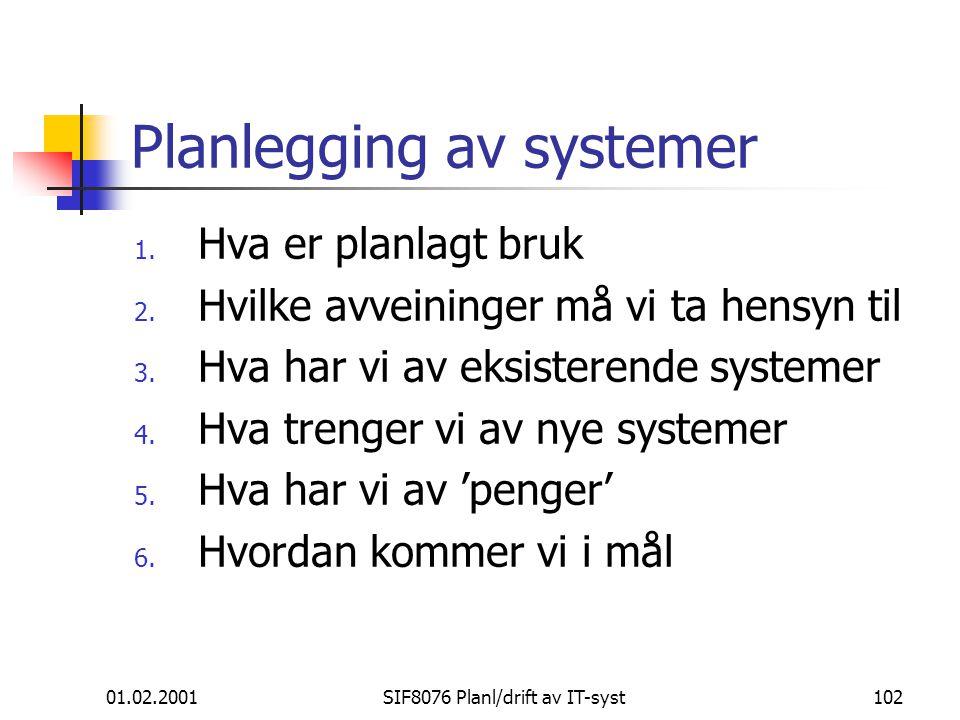 01.02.2001SIF8076 Planl/drift av IT-syst102 Planlegging av systemer 1.